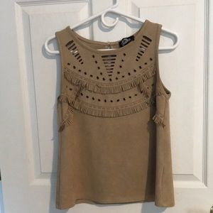 Faux Tan Suede Fringe Tank Top Medium by Luxe